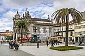 The fountain of Lions, Praca de Gomez, Igreja do Carmo church, Azulejos,vintage tram,  Porto, Portugal