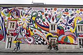 Colorful wall painting, Steak n Shake Restaurant, Porto, Portugal