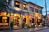 Building in Hoi An Ancient Town illuminated at dusk. Hoi An, Quang Nam Province, Vietnam.
