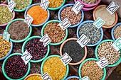 Spices on display, Spice market, in Khari Baoli, near Chandni Chowk, Old Delhi, India.