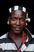 Portrait Of A Hamer Tribesman At The Turmi Monday Market, Turmi, Omo Valley, Ethiopia.