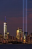 World Trade Center (WTC) Tribute In Light Memorial II - The New York City (NYC) Tribute In Light Memorial during the 15th Anniversary of the terror attacks of the Twin Towers in Lower Manhattan.The Tribute in Light is an art installation of searchlights p