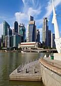 Singapore, Central Business District, skyline, Fullerton Hotel,.