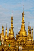 View of golden stupas at the 2,500 years old Shwedagon Pagoda in Yangon (Rangoon), the largest city in Myanmar.