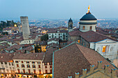 Cathedral of Bergamo from above at dusk, Bergamo (Upper town), Lombardy, Italy.