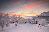 Sunrise on the little village, Bjorkliden, Abisko, Kiruna Municipality, Norrbotten County, Lapland, Sweden