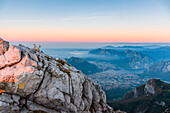 View of Lecco city and Como Lake from the summit of Resegone at sunrise, Lecco, Lombardy, Alps, Italy, Europe