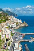 Amalfi, Amalfi coast, Salerno, Campania, Italy. High angle view of Amalfi