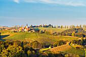 View of the villages of Svetinje and Jeruzalem. Ormoz, Drava region, Slovenia