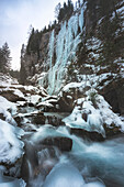 Serrai of Sottoguda, Rocca Pietore, Veneto, Belluno, Italy. Frozen scenario in this canyon of the Dolomites
