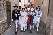 Rocca Grimalda, Alessandria, Piedmont, Italy. Traditional carnival La Lachera of Rocca Grimalda