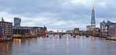 Panoramic view on river Thames from Millennium Bridge, London, Great Britain, UK