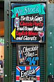 Alcoholic sale signs, Borough Market, London, Great Britain, UK