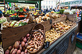 Vegetable stand at Borough Market, London, Great Britain, UK