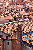 Roofs of the Upper town from above. Bergamo, Lombardy, Italy.