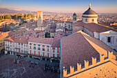 Piazza Vecchia and Bergamo Cathedral from above during sunset. Bergamo, Lombardy, Italy.