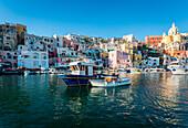 Procida, Naples, Italy. La Corricella Harbour.