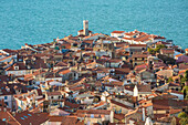 the roofs of Piran viewed from town walls, Piran, Istria, Slovenia