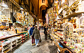 Italy, Campania, Province of Naples, Naples. St gregorio armeno street by night