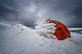 Bivacco Pelino covered with ice and the summit of Monte Amaro, Maiella, L'Aquila province, Abruzzo, Italy, Europe