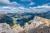 Mount Sasso Bianco, Dolomites, Alleghe, province of Belluno, Veneto, Italy, Europe. The summit panorama of Sasso Bianco