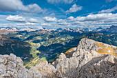Mount Sasso Bianco, Dolomites, Alleghe, province of Belluno, Veneto, Italy, Europe. The summit panorama of Sasso Bianco