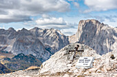 Mount Sasso Bianco, Dolomites, Alleghe, province of Belluno, Veneto, Italy, Europe. At the top of the mount Sasso Bianco