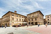 Italy, Tuscany, the village of Montepulciano on the hills tuscany, plaza Grande, provence of Siena