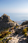 Hikers on path towards the peak of Monte Capanne, Elba Island, Livorno Province, Tuscany, Italy