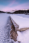 Walkway on the frozen lake, Lej da Staz, St Moritz, canton of Graubünden, Engadine, Switzerland