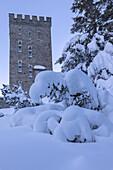 Belvedere Tower surrounded by snow, Maloja Pass, Bregaglia Valley, canton of Graubunden, Engadin, Switzerland