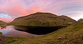 Panoramic of Lake Saksunarvatn at sunset, Saksun, Streymoy Island, Faroe Islands
