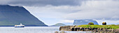 Panoramic of Kirkjubour, Streymoy island, Faroe Islands, Denmark