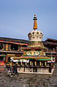 White stupa in old town of Zhongdian, Shangri-La County, Yunnan Province, China, Asia, Asian, East Asia, Far East