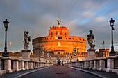 Sant Angelo castle at sunrise Europe, Italy, Lazio, Rome capital