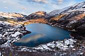 Lake of Scanno in Abruzzo Europe, Italy, Abruzzo, Scanno