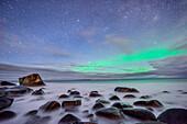 Felsen am Strand mit Nordlicht und Sternenhimmel, Polarlicht, Aurora borealis, Lofoten, Nordland, Norwegen