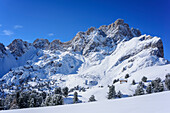 Geisler range in winter, Medalges, Natural Park Puez-Geisler, UNESCO world heritage site Dolomites, Dolomites, South Tyrol, Italy