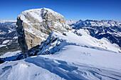 View to Grosser Peitlerkofel, from Kleiner Peitlerkofel, Natural Park Puez-Geisler, UNESCO world heritage site Dolomites, Dolomites, South Tyrol, Italy