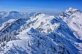 View to Wendelstein from Wildalpjoch, Wildalpjoch, Bavarian Alps, Upper Bavaria, Bavaria, Germany