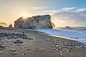 Cyprus, Paphos, Petra tou Romiou also known as Aphrodite's Rock at sunrise