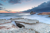 Cyprus, Paphos, Coral Bay, the shipwreck of Edro III at sunset