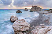 Cyprus, Paphos, Petra tou Romiou also known as Aphrodite's Rock at sunset