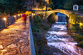 Alpine village of Campodolcino with the old Ponte Romano, Spluga valley, Sondrio province, Lombardy, Italy, Europe
