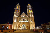 Cathedral of Campeche by night, San Francisco de Campeche, State of Campeche, Mexico.