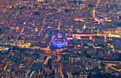 Cathedral of Como(Duomo) and other monuments of the city from above, during light festival called 'La Città dei Balocchi'. Como, Como Lake, Lombardy, Italy, Europe.