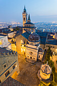 Cathedral of Bergamo with Basilica of Santa Maria Maggiore from above at dusk, Bergamo (Upper town), Lombardy, Italy.