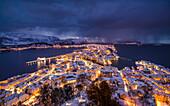 Winter storm at Alesund, Vestlandet, More og Romsdal county, Norway, Europe.