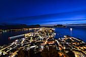Blue hour cityscape at Alesund, Vestlandet, More og Romsdal county, Norway, Europe.