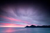 Clouds on ocean at dawn, Kalsoy Island, Faroe Islands